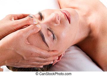 masage, tête, salon, beauté