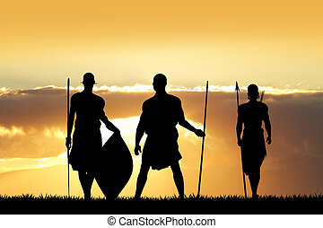 Masai at sunset - Illustration of Masai men at sunset