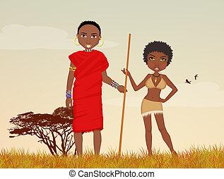 masai, frau, mann, afrikanisch