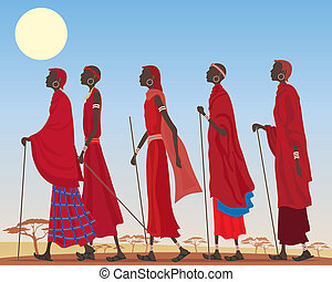 masai group - an illustration of a group of colorful masai ...