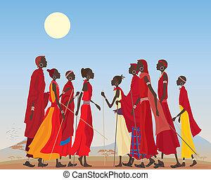 masai, hombres, mujeres