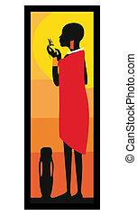 masai, kvinna, standing-vector