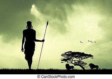 masai, landschaftsbild, afrikanisch