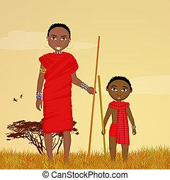 masai, mann, kind