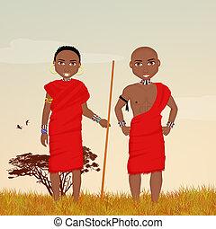 masai, mann, landschaftsbild, afrikanisch