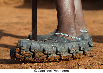 Masai sandals - A pair of authentic Maasai sandals made from...