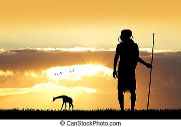 masai, silhouette, landschaftsbild, afrikanisch