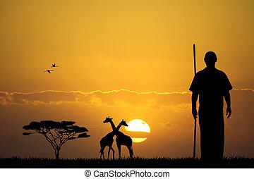 masai, sonnenuntergang