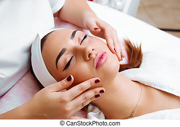masaje facial, cosmético, treatment.