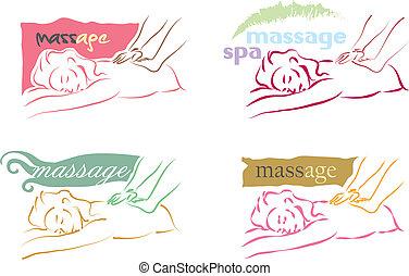 masaje, logotipo