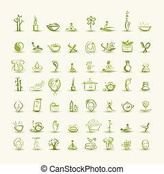 masaje, y, balneario, conjunto, de, iconos, para, su, diseño