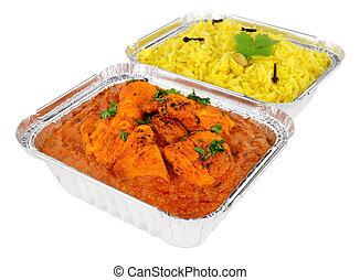masala, hojuela, lejos, arroz, pollo, tikka, pilau, bandejas, curry, toma