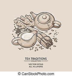 masala tea - traditional indian masala tea with spices on...