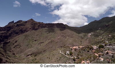 Masca Canyon Tenerife Canarias. Picturesque Mountain gorge landscape. Aerial view