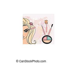 Mascara Applying. Makeup Closeup.