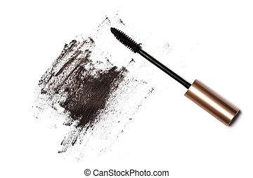 Mascara brush and black trace