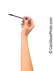 mascara brush in hands of women isolated