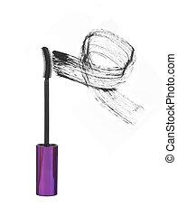 mascara brush strokes isolated on white