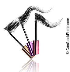 Mascara brushes with strokes isolated on white background