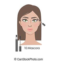 mascara., donna, applicare