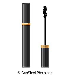 Mascara for make up. Illustration of object on white background in flat design style