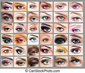 mascara., grande, variedade, de, mulheres, eyes., jogo, de, sombra