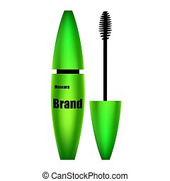 Mascara green with brush on white background isolate