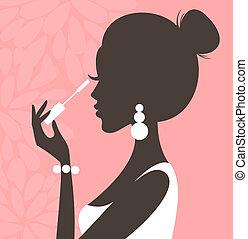 Mascara (Pink Series) - Illustration of a young beautiful...