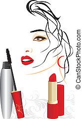 mascara, rossetto rosso
