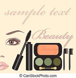 Mascara - set for makeup of brushes and mascara
