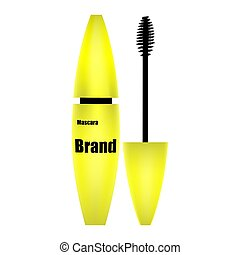 Mascara with brush yellow, isolate on white background