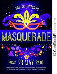 mascarada, cartel, invitación, noche, celebración