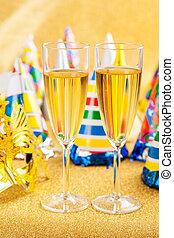 mascarada, champanhe, máscara