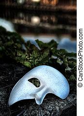 mascarada, -, phantom ópera, máscara, ligado, vindima, ponte