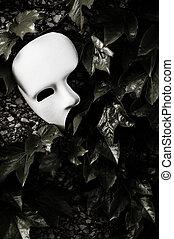 mascarade, -, fantôme opéra, masque, sur, lierre, mur