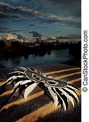 mascarade, -, masque vénitien, à, horizon ville