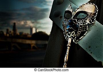 mascarade, -, masque vénitien, sur, vendange, pont, à, horizon ville