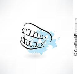 mascella, denti, icona