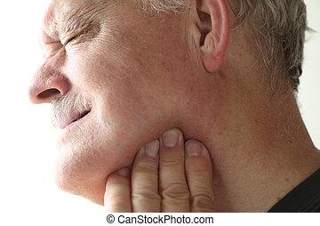 mascella, uomo, dolore, più vecchio