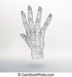masche, polygonal, hintergrund, hand, von, lines., der,...