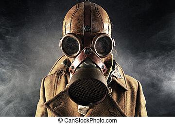 maschera antigas, uomo, grunge, ritratto