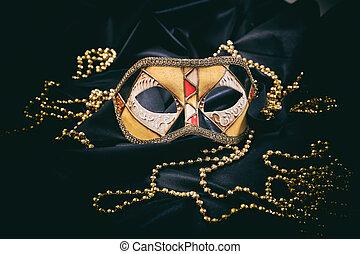 maschera carnevale, su, nero, raso, fondo