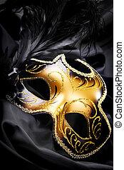 maschera carnevale, su, nero, seta, fondo
