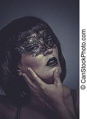 maschera, donna, voga, seducente, sensuale