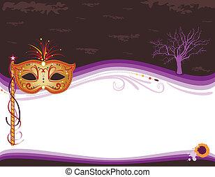 maschera, invito, halloween, mascherata, dorato