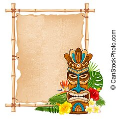 maschera legno, bambù, cartello, tiki