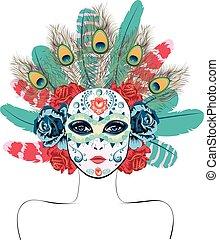 maschera, penne, rose