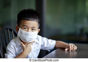 maschera protezione, quarantena, bambini, casa, asiatico, il...