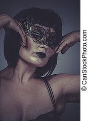 maschera, sensuale, seducente, donna