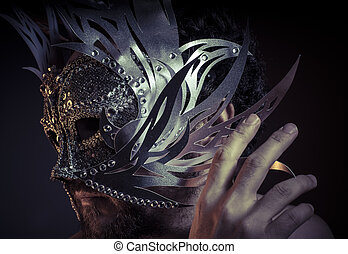 maschera, tesoro, metalli, gioielli, silver., prezioso, uomo